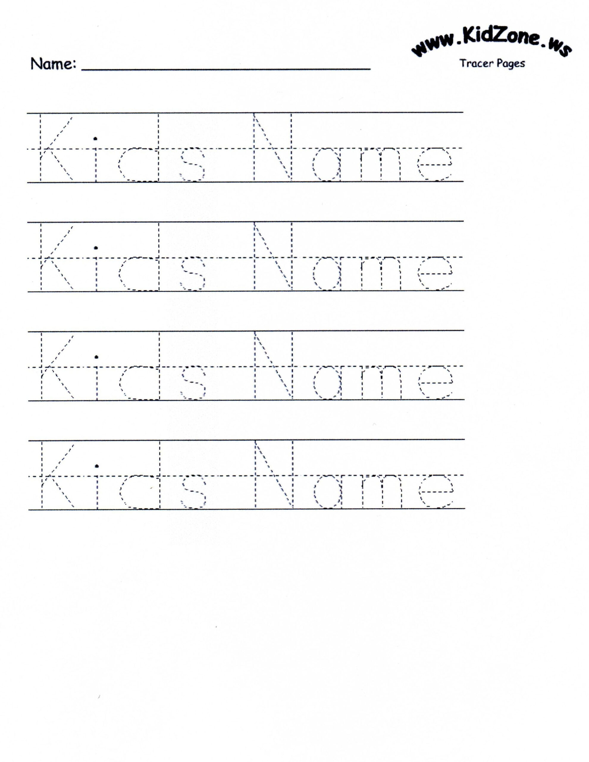 Custom Tracer Pages | Tracing Worksheets Preschool, Name in Name Tracing Worksheet With Blank Lines