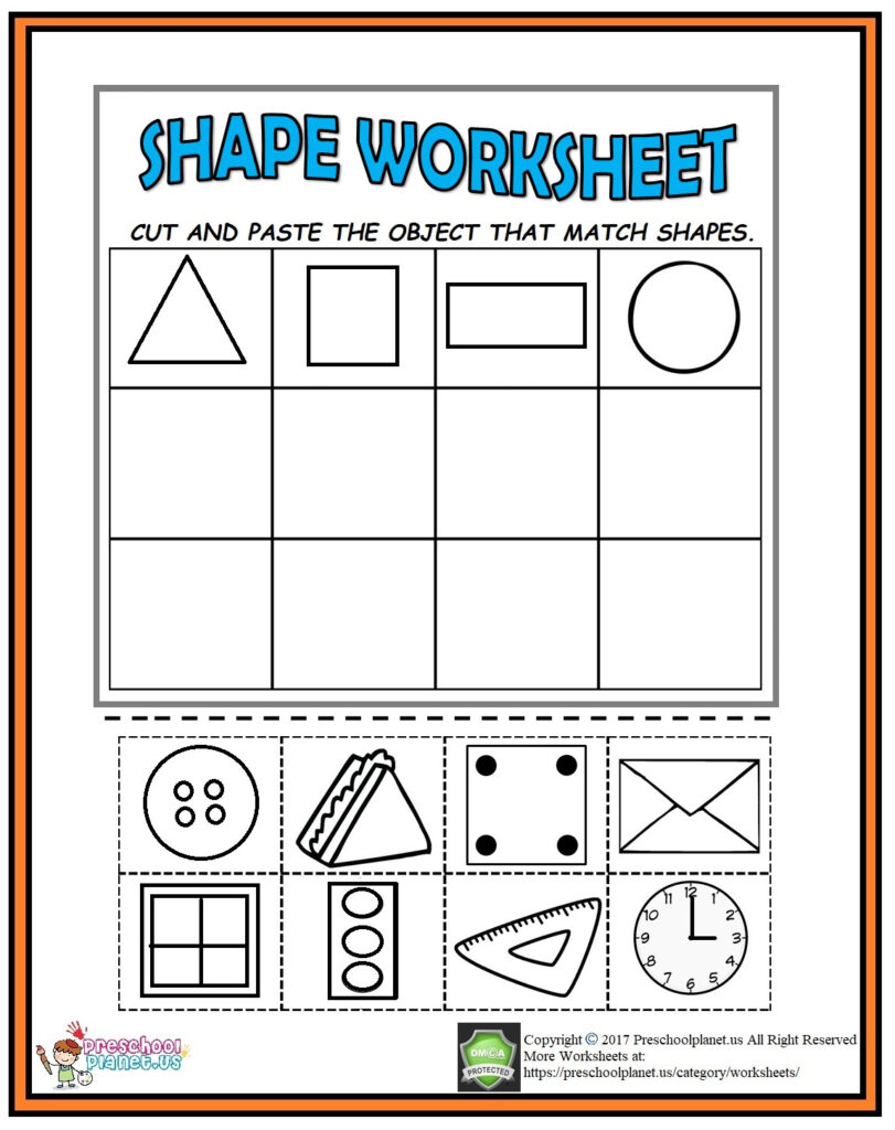Cut And Paste Shape Worksheet Preschoolplanet Cutting Shapes Within Letter L Worksheets Cut And Paste