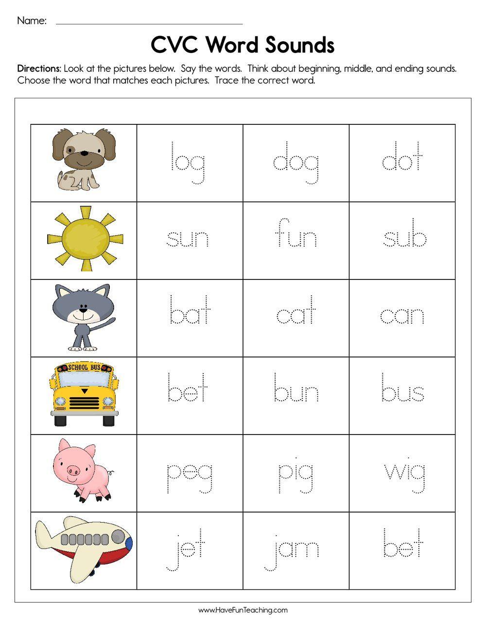 Cvc Word Sounds Worksheet In 2020 | Cvc Words Kindergarten