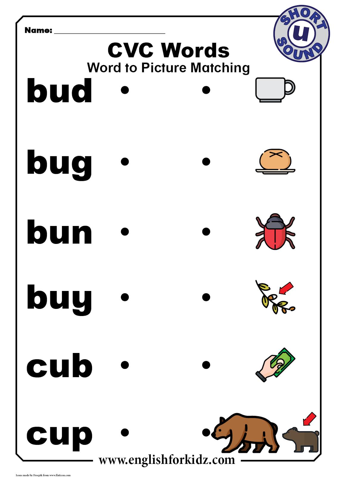 Cvc Words Worksheets: Short U Sound