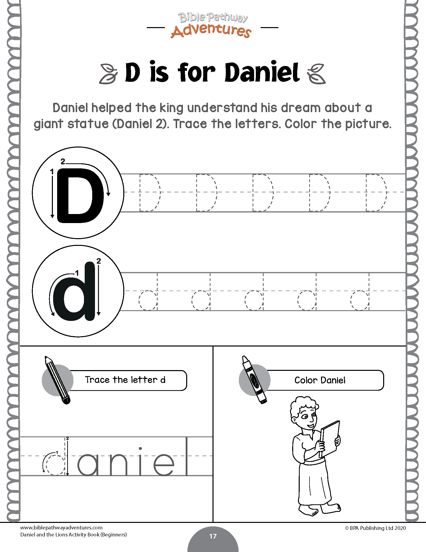 Daniel And The Lions Activity Book: Beginners – Bible intended for Name Tracing Daniel