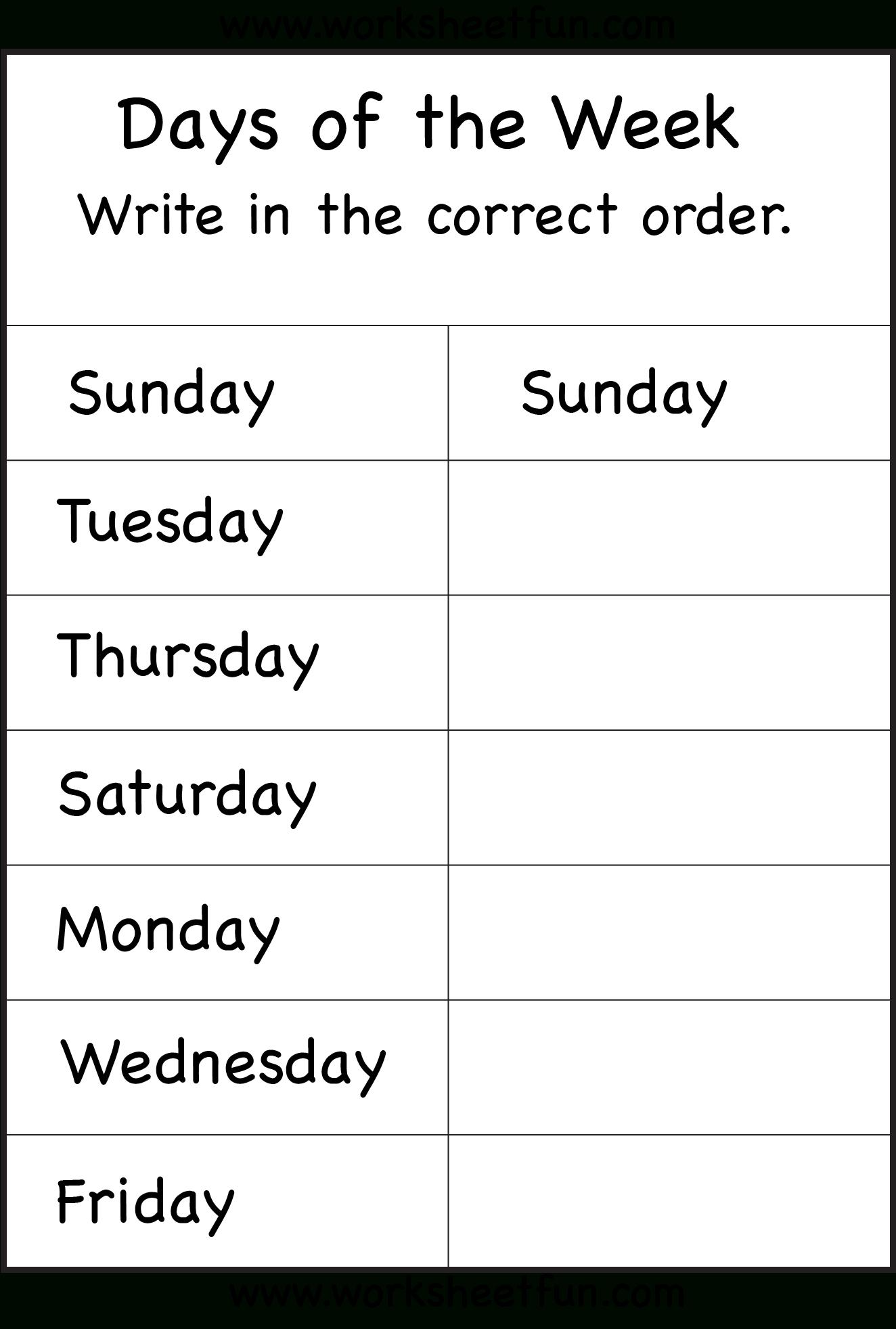 Days Of The Week – 1 Worksheet / Free Printable Worksheets