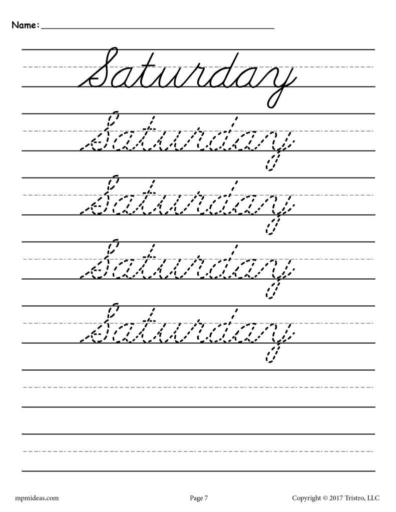 Days Of The Week Cursive Handwriting Worksheets In Name