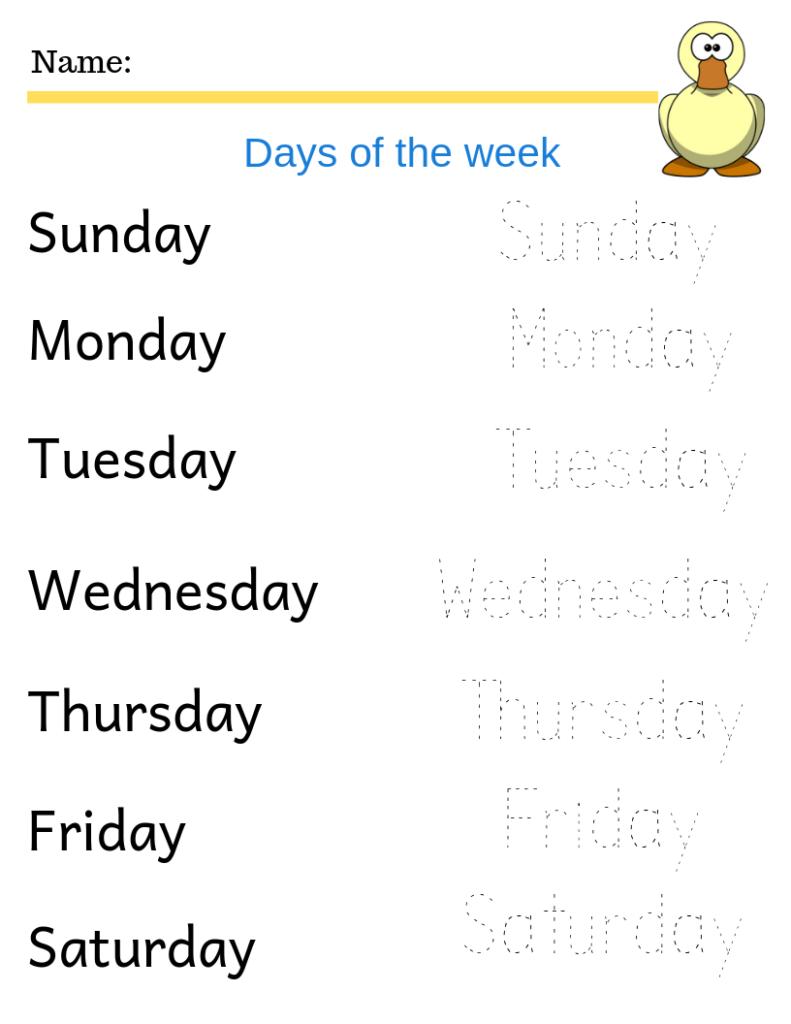Days Of The Week Free Printables | Kindergarten Worksheets