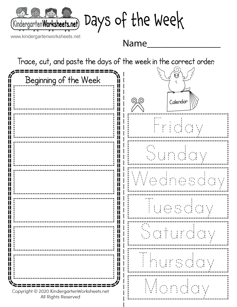 Days Of The Week Worksheet - Free Printable, Digital, & Pdf
