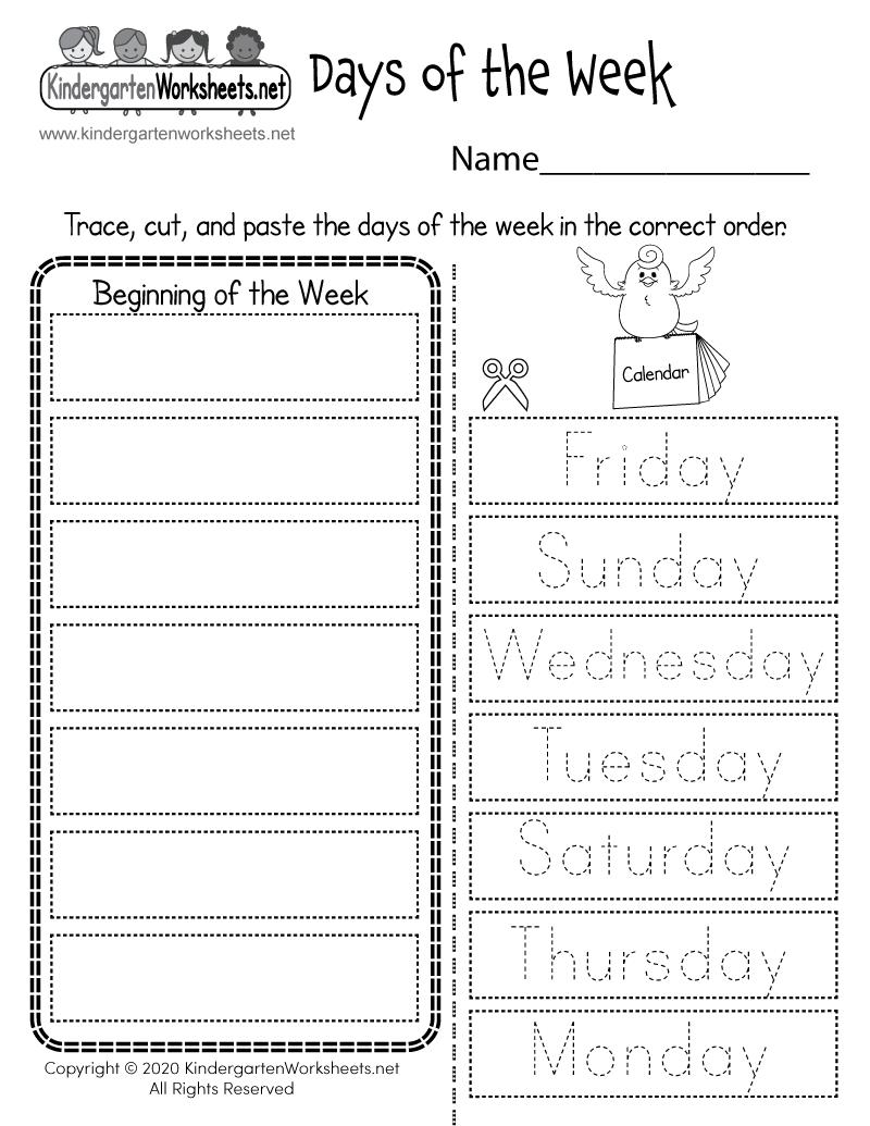 Days Of The Week Worksheet - Free Printable, Digital, & Pdf