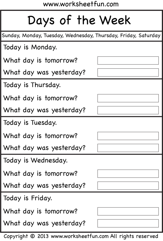Days Of The Week – Worksheet / Free Printable Worksheets
