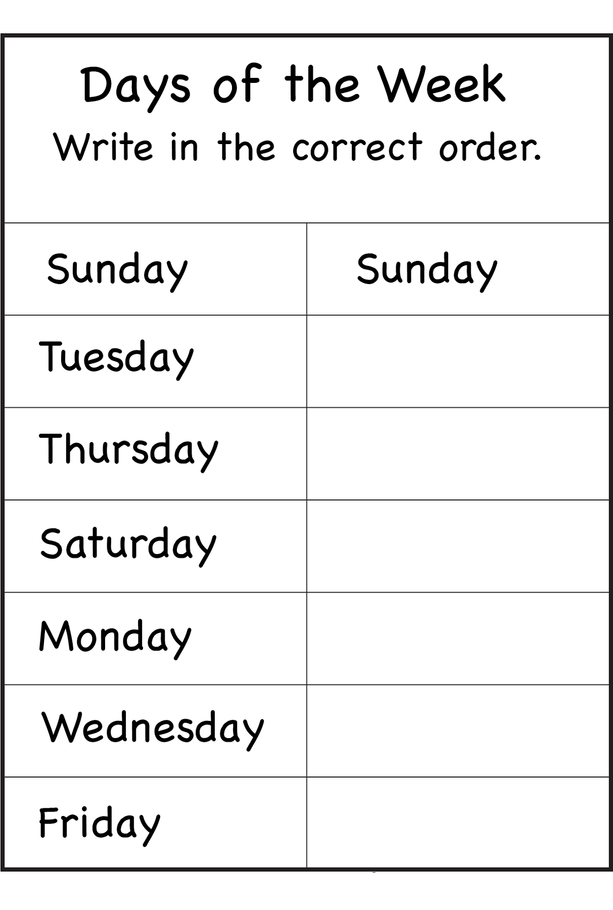 Days Of The Week Worksheets   School Worksheets, English