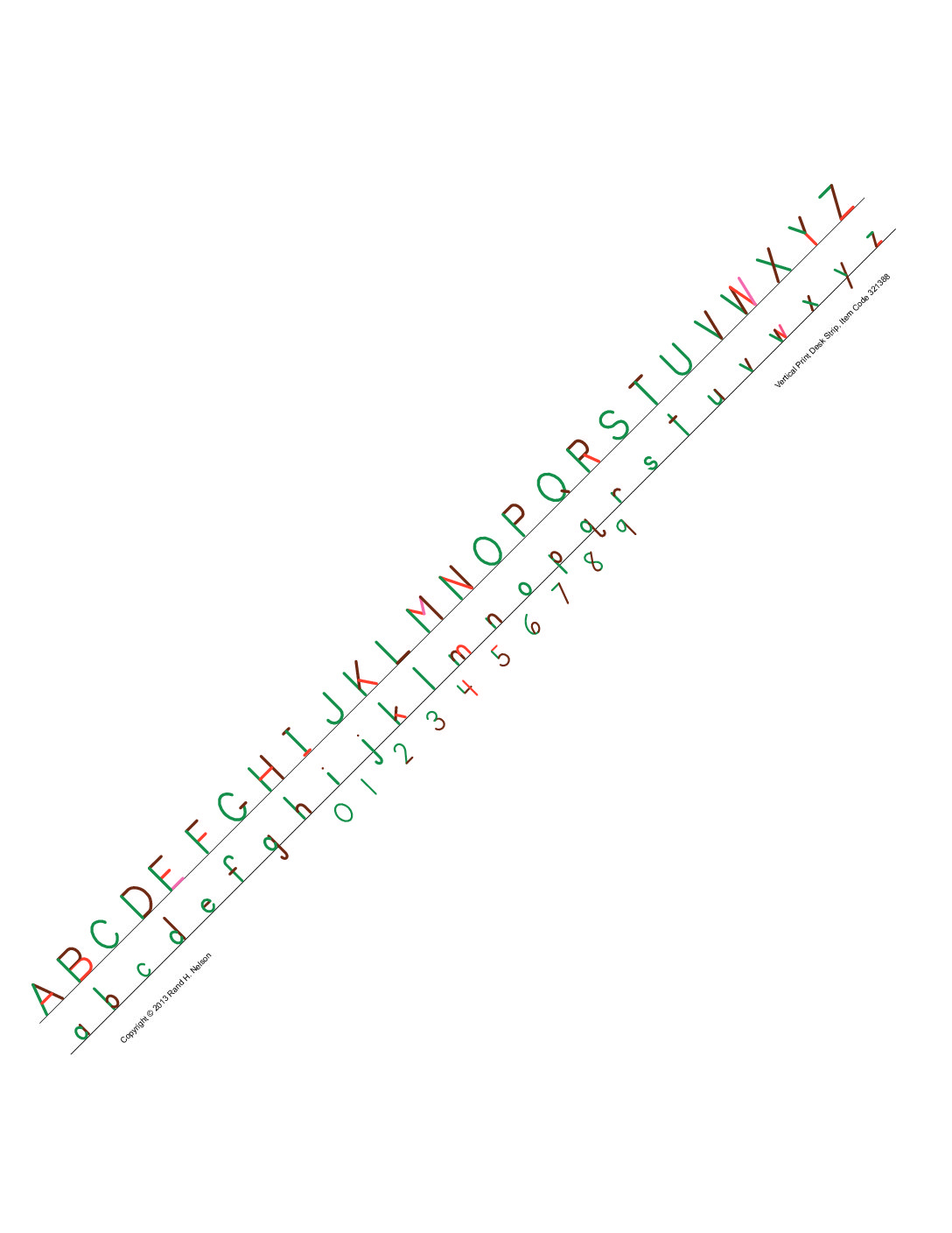 Desk Alphabet Strips Vertical Print - Pkg. Of 32, Self-Adhesive
