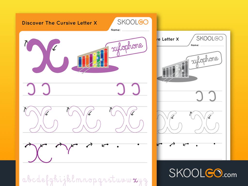 Discover The Cursive Letter X - Worksheetskoolgo