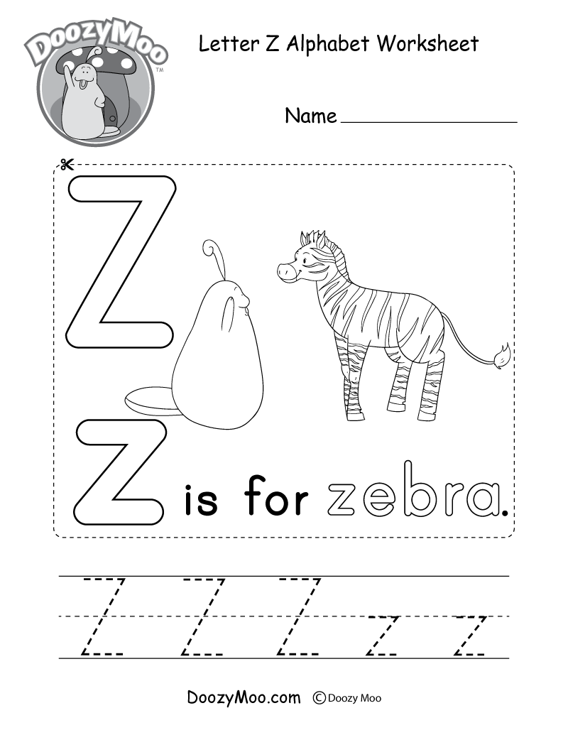 Doozy Moo's Printable Alphabet Book within Letter Z Tracing Sheet