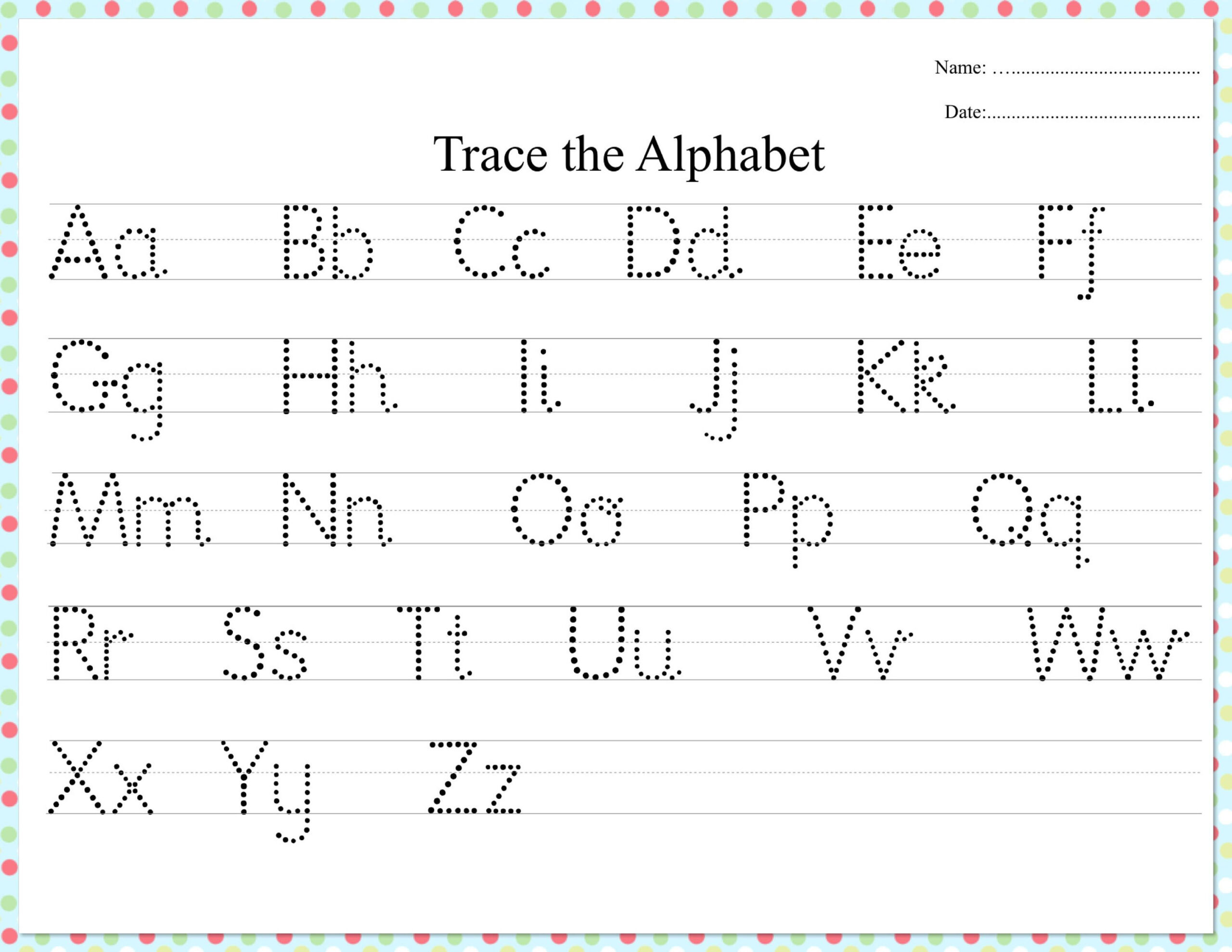 Dotted Alphabet Trace Practice Worksheet | Etsy In 2020