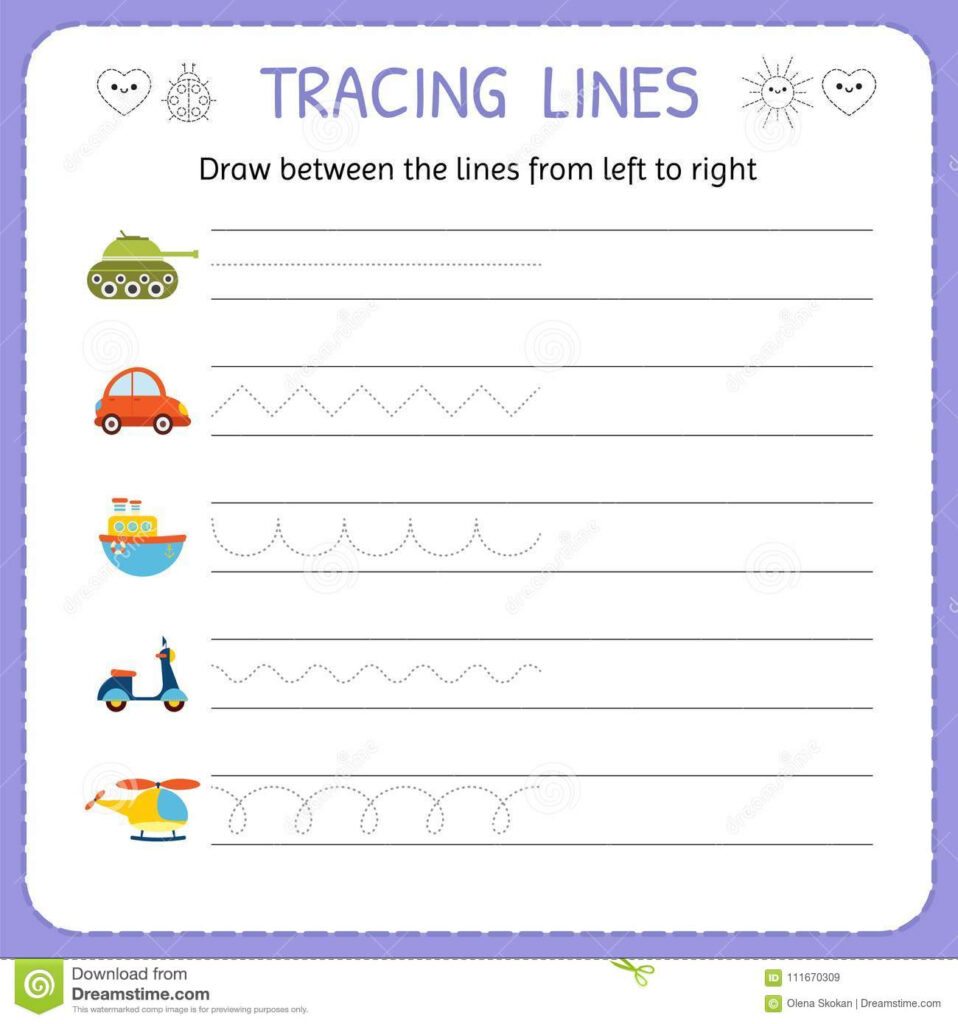 Draw Between The Lines From Left To Right. Preschool
