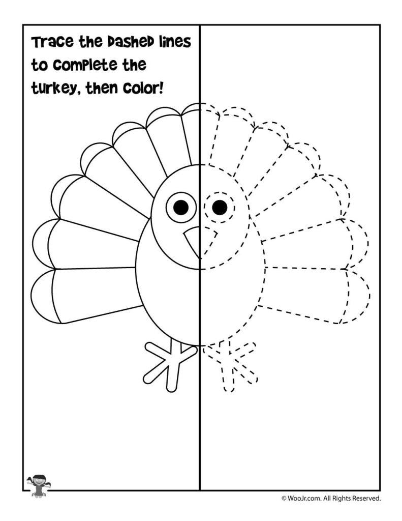 Draw The Turkey Activity Sheet | Woo! Jr. Kids Activities