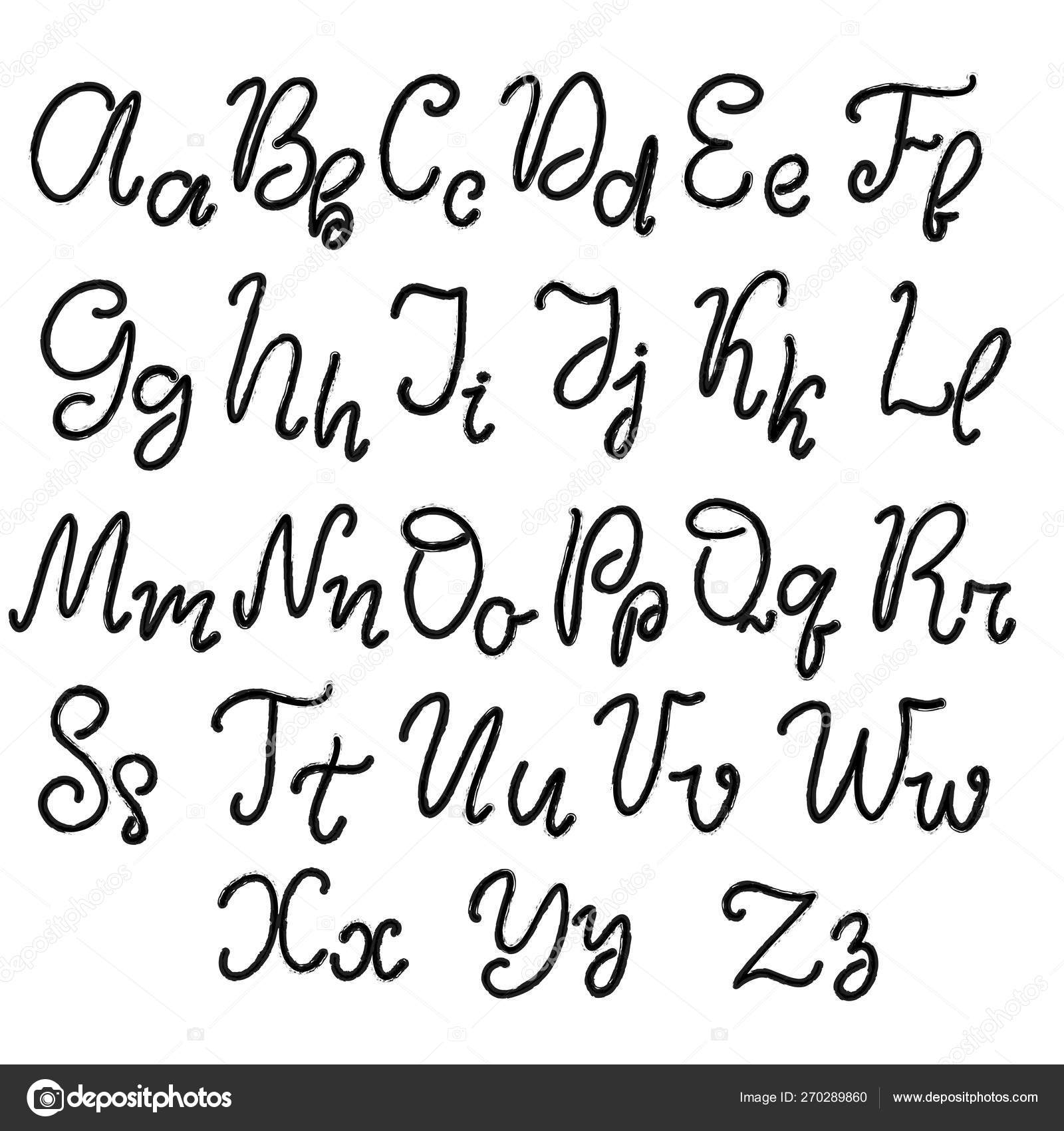 Drawn Lettering Font Alphabet Stock Vector Cursive Writing