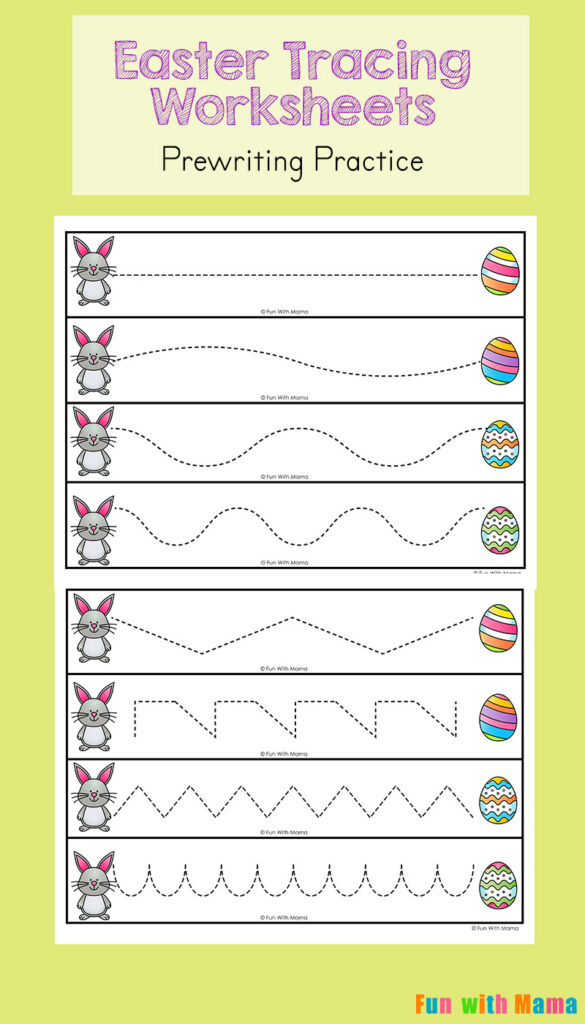 Easter Tracing Worksheets For Preschoolers   Fun With Mama