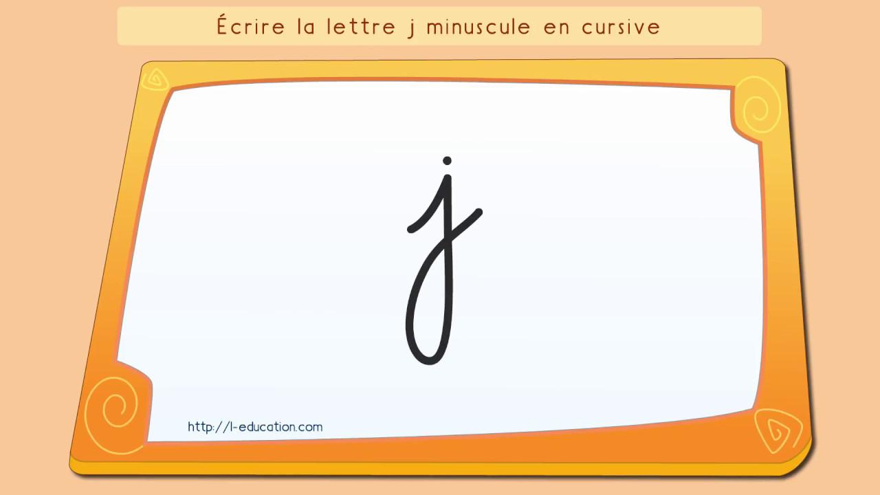 Écrire L'alphabet: Apprendre À Écrire La Lettre J En Minuscule En Cursive