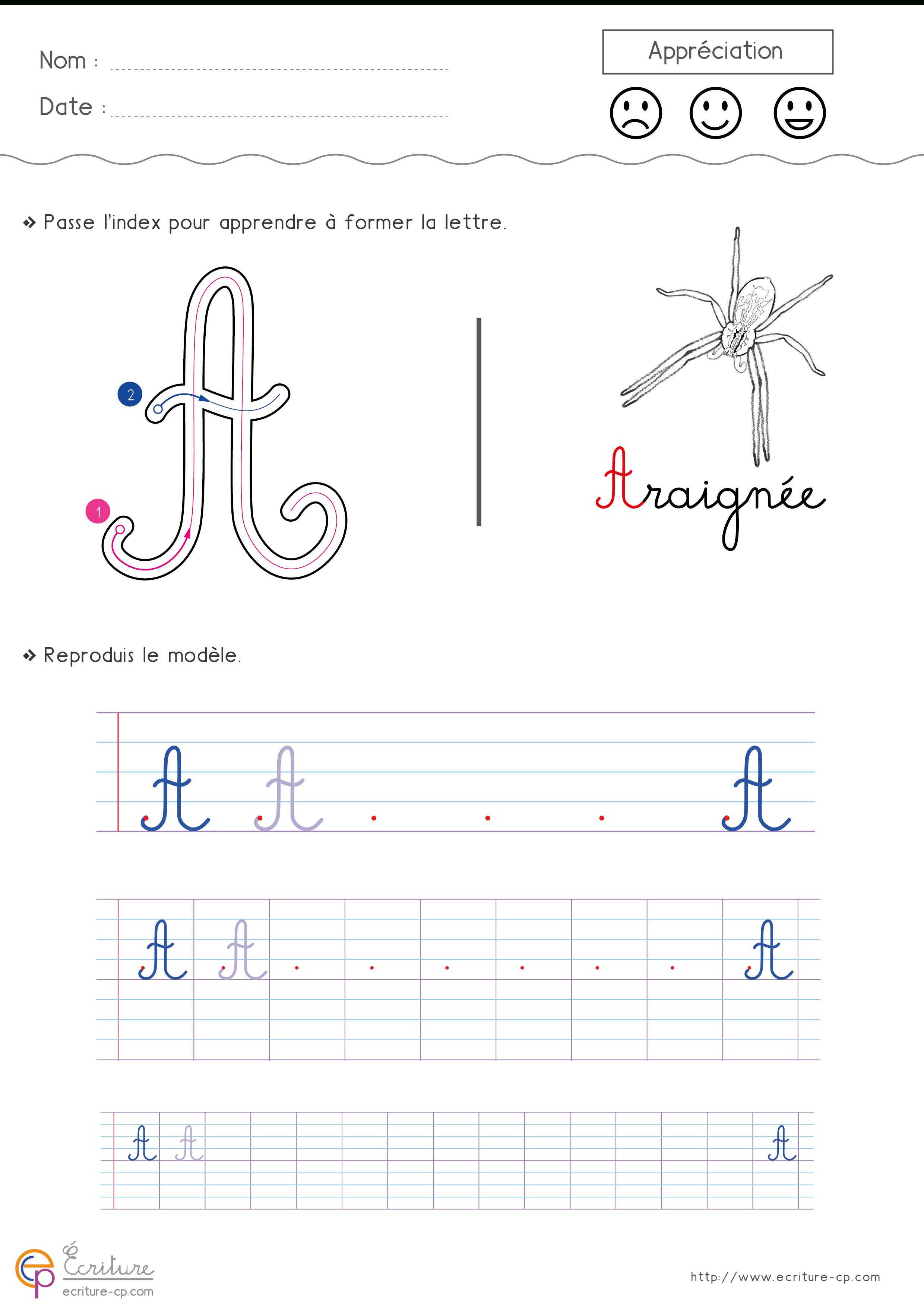 Écrire L'alphabet Majuscule Cursive Cp Ce1 | Écriture Cp Ce1