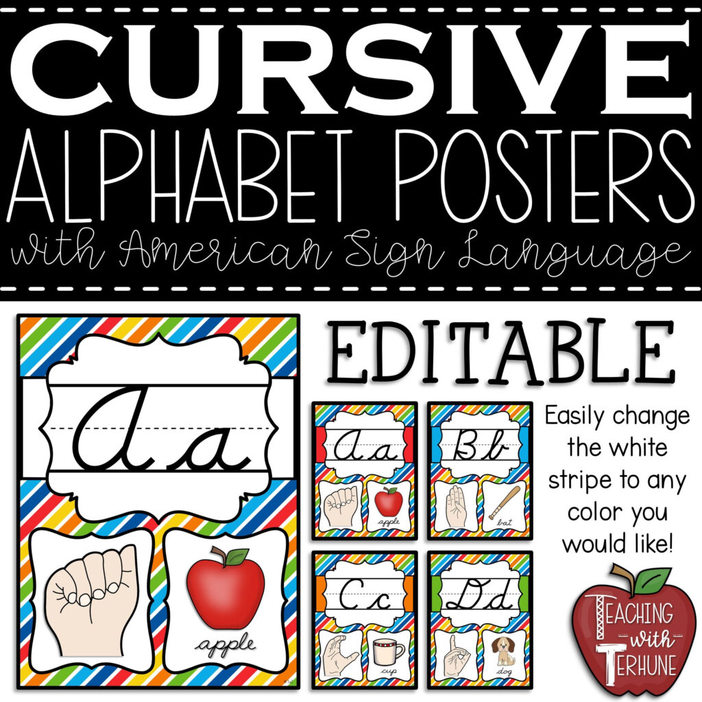 Editable Cursive Alphabet Posters With American Sign