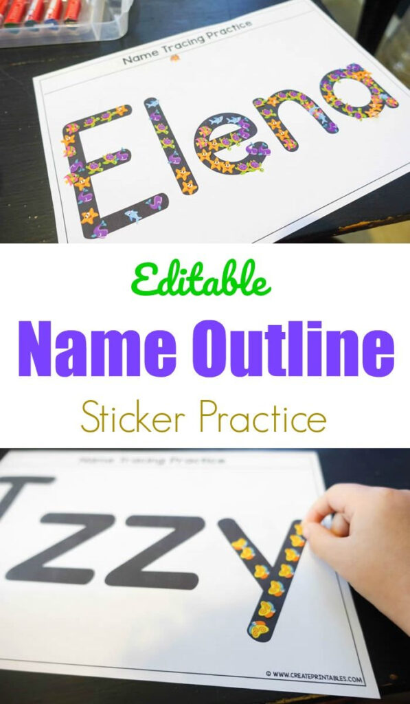 Editable Name Outline Sticker Practice #nametracing #myname Throughout Name Tracing Ideas