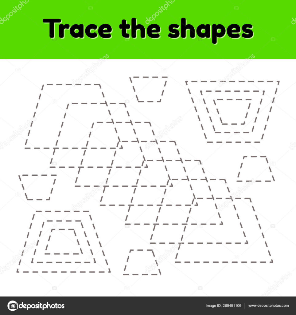 Educational Tracing Worksheet For Kids Kindergarten, Preschool And School  Age. Trace The Geometric Shape. Dashed Lines. Trapezoid. 269491106