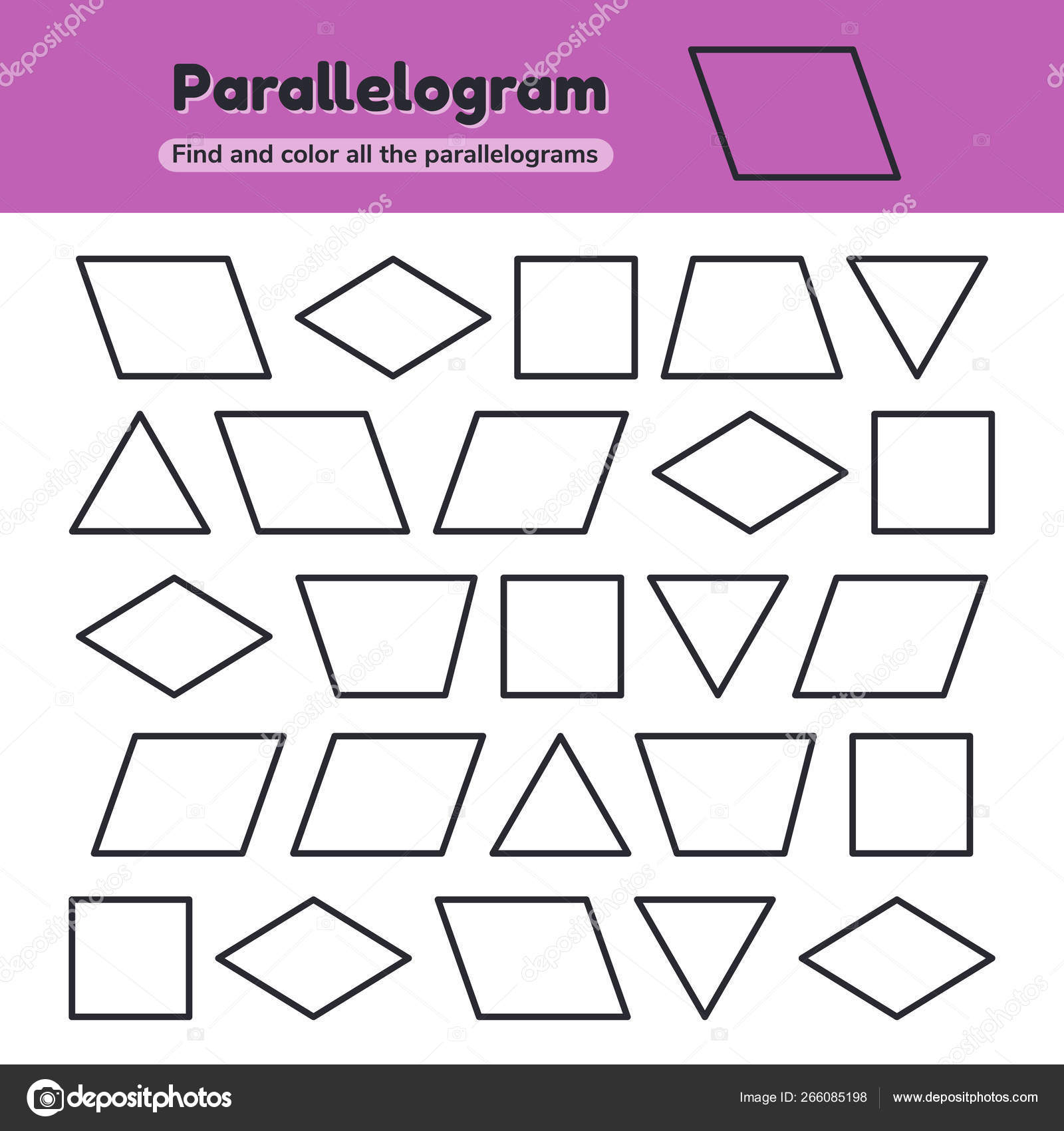 Educational Worksheet For Kids Kindergarten, Preschool And School Age.  Geometric Shapes. Rhombus, Parallelogram, Triangle, Square, Trapezoid. Find  And