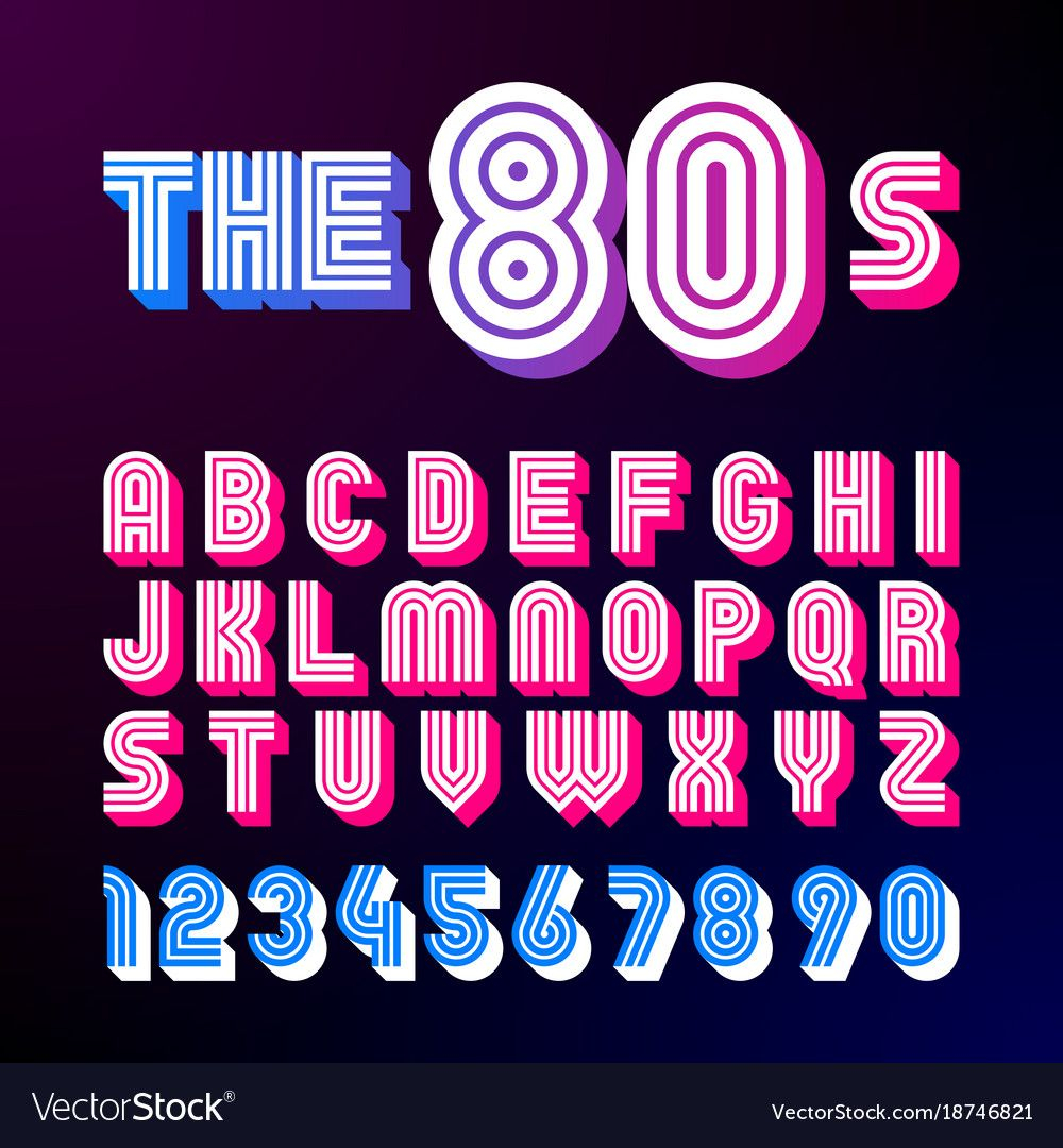 Eighties Style Retro Font 80S Font Design Vector Image On