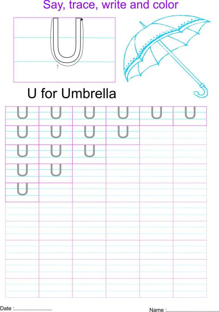 English Capital Letter 'u' Worksheet For Letter U Worksheets Pdf
