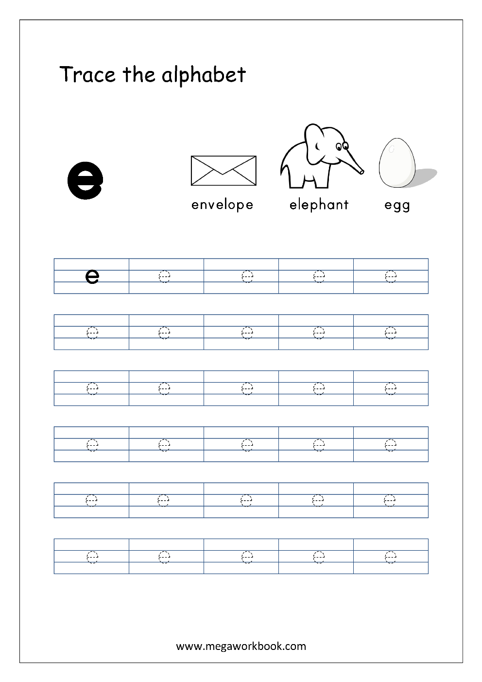 English Worksheet - Alphabet Tracing - Small Letter E with Letter E Tracing Sheets
