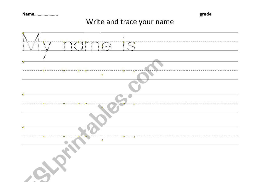 English Worksheets: Trace And Write Your Name