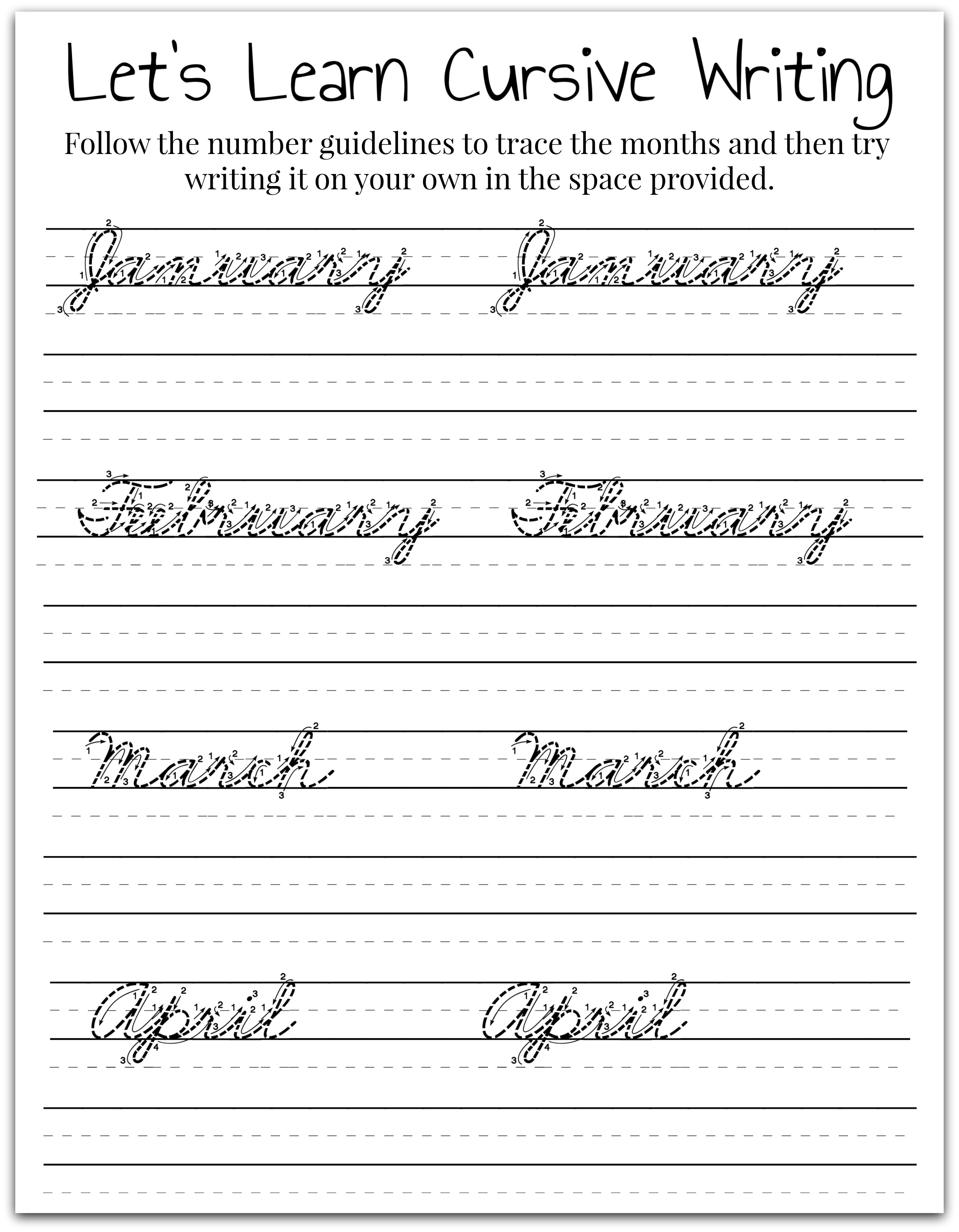 Tracing Cursive Letters Worksheets Free ...