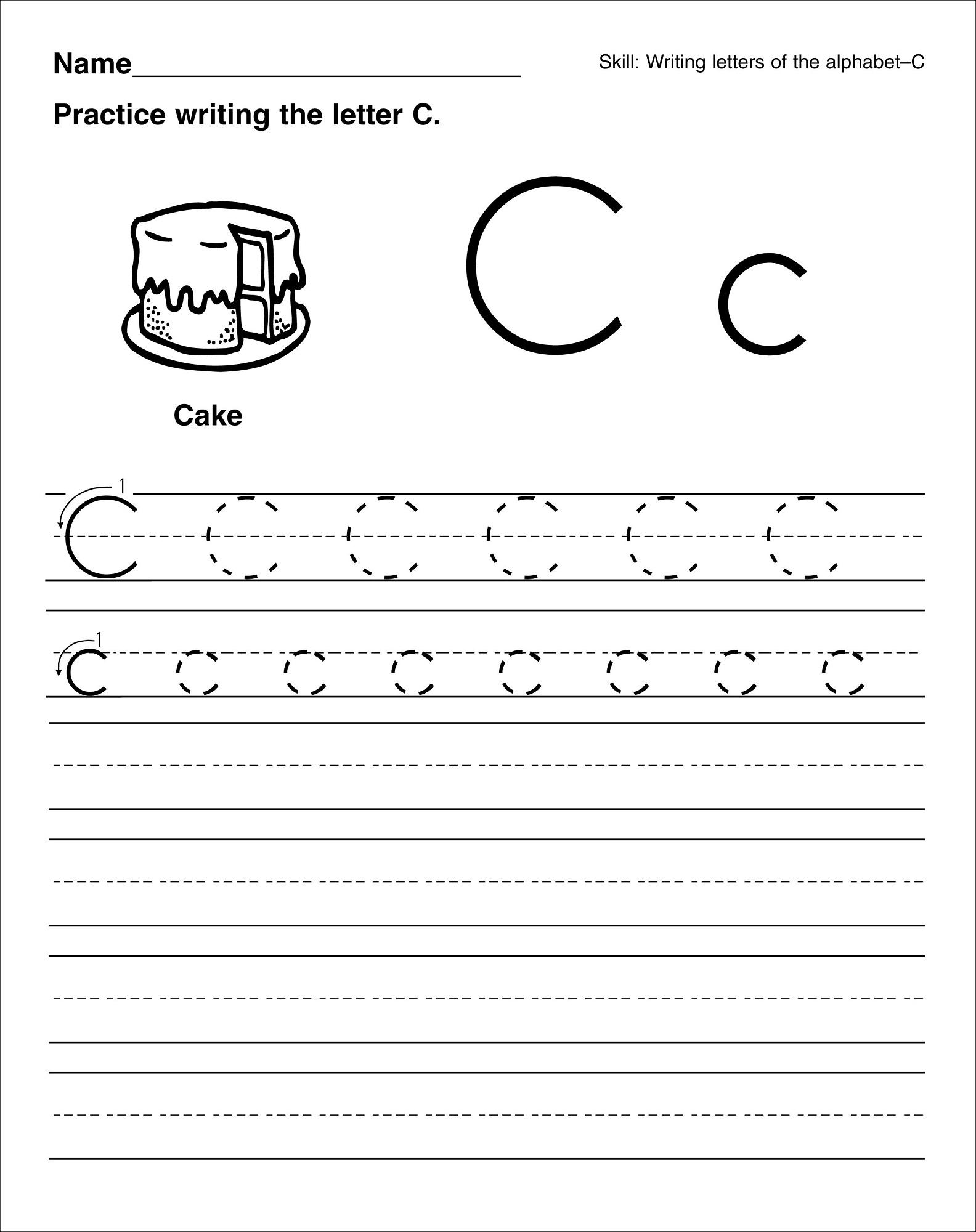 Fast Math Cursive Practice Worksheets Letter C Tracing
