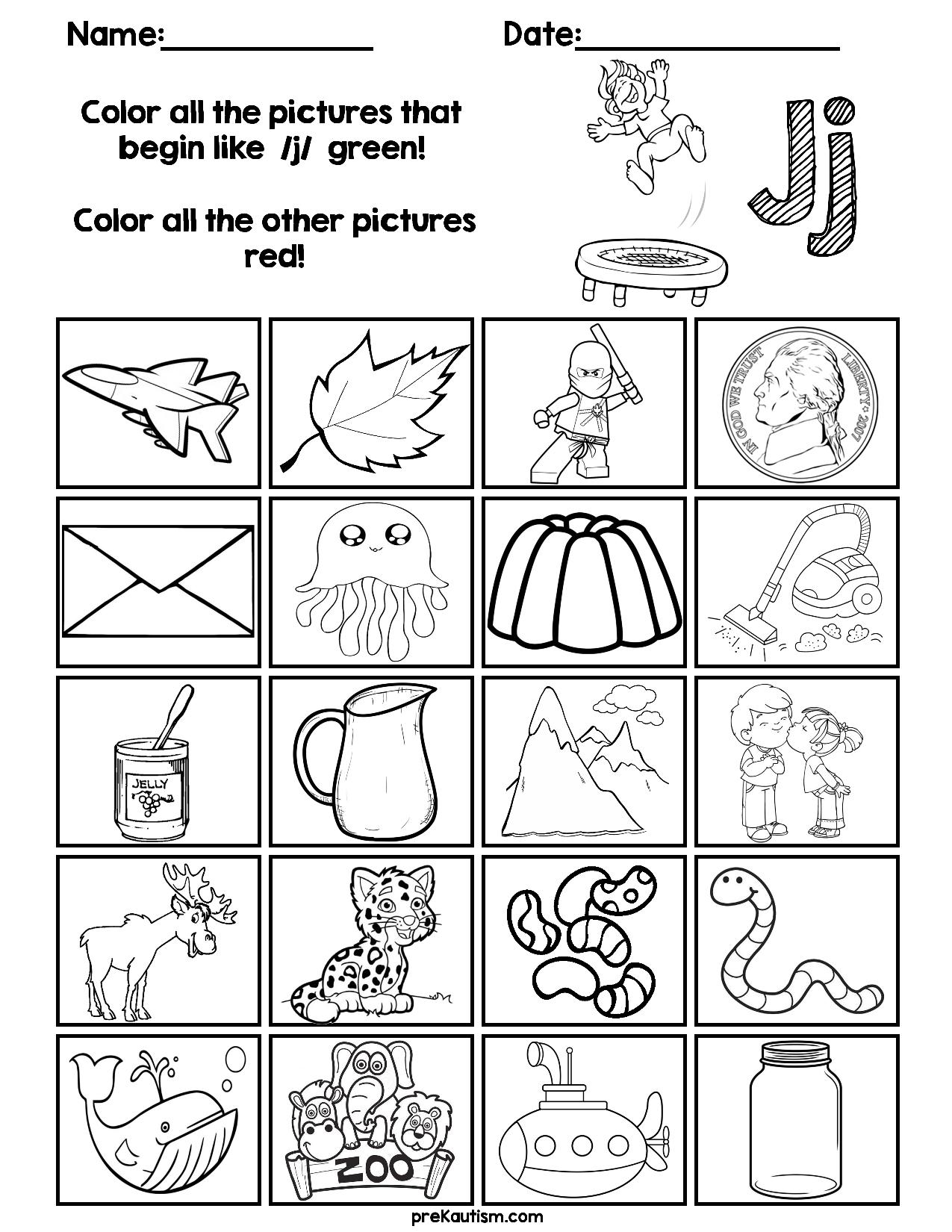 Find & Color Consonants Worksheets | Kindergarten Reading for Letter J Worksheets For First Grade