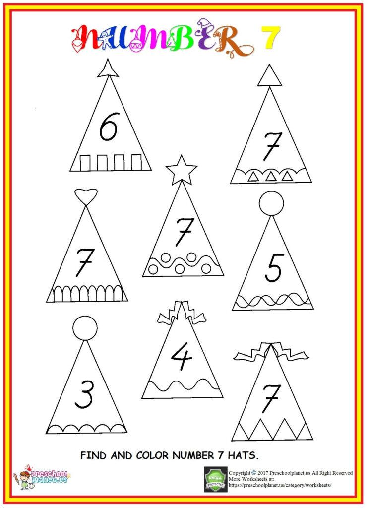 Find Number 7 Worksheet | Worksheets For Kids, Preschool Inside Letter 7 Worksheets