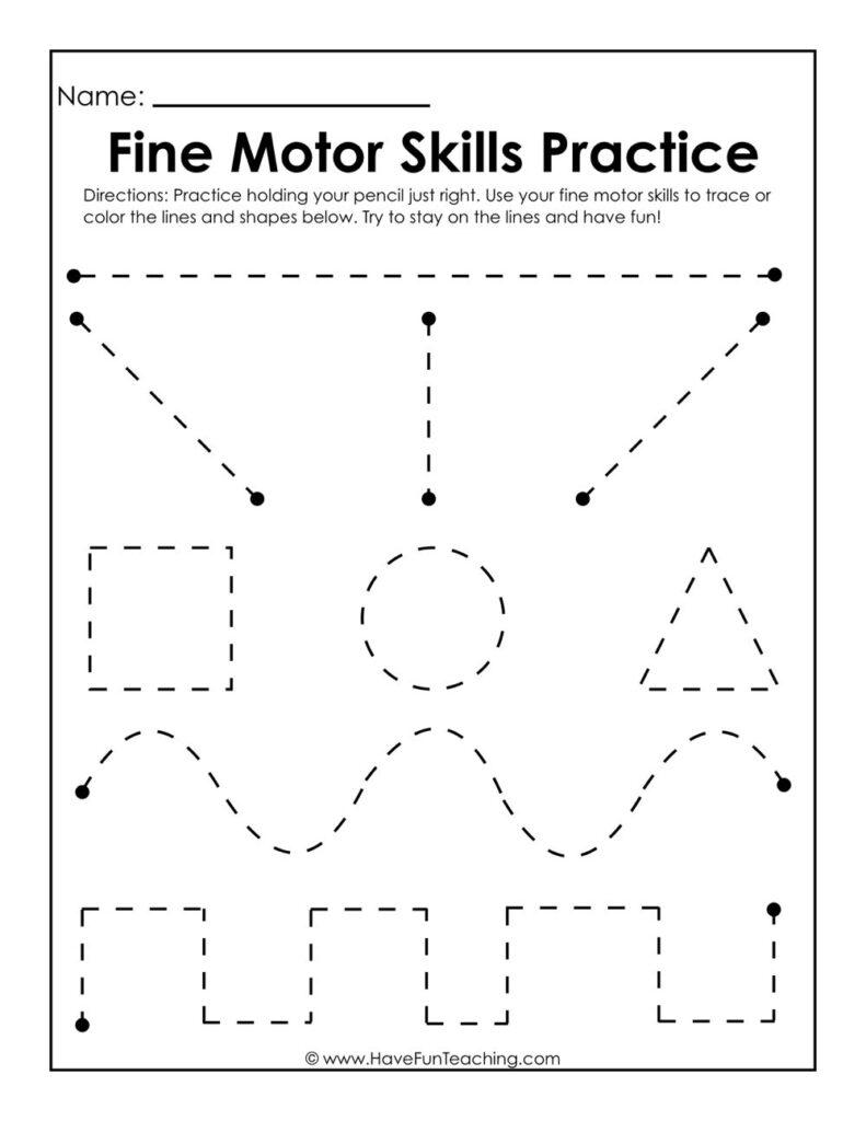 Fine Motor Skills Practice Worksheet   Preschool Writing