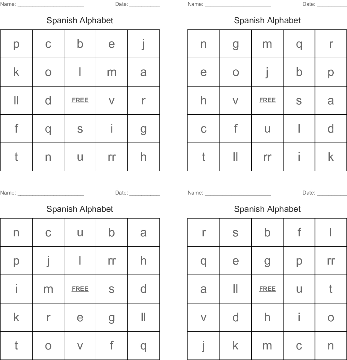 Free Alphabet Bingo Worksheets | Printable Worksheets And regarding Alphabet Bingo Worksheets