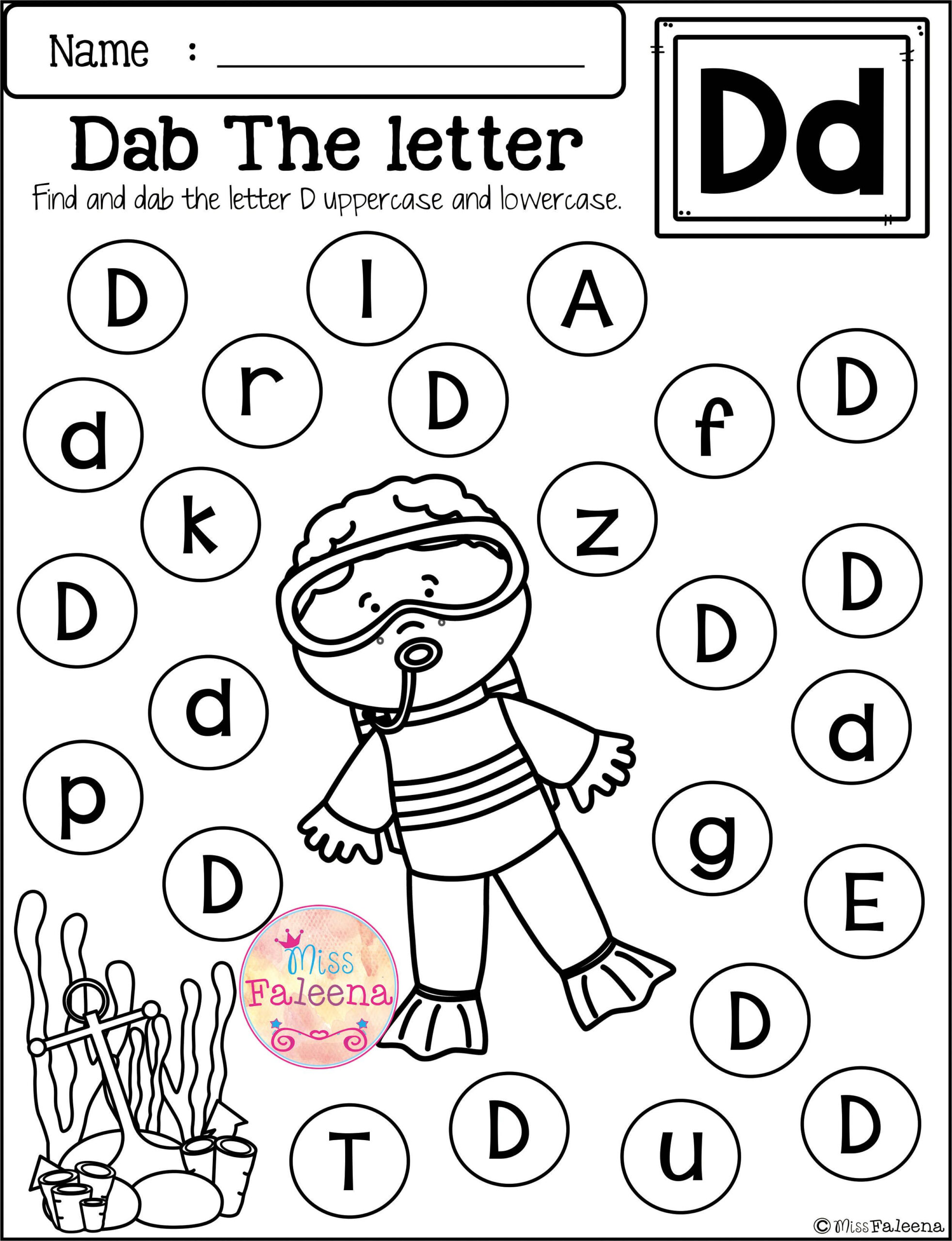 Free Alphabet Dab   Alphabet Worksheets Preschool, Free pertaining to Alphabet Dab Worksheets