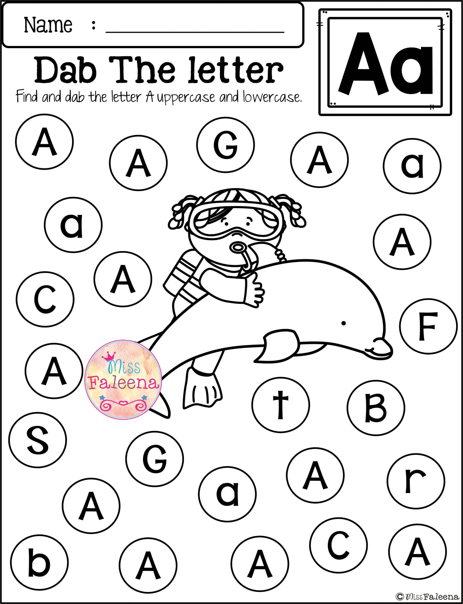 Free Alphabet Dab   Letter Recognition Worksheets within Alphabet Dab Worksheets