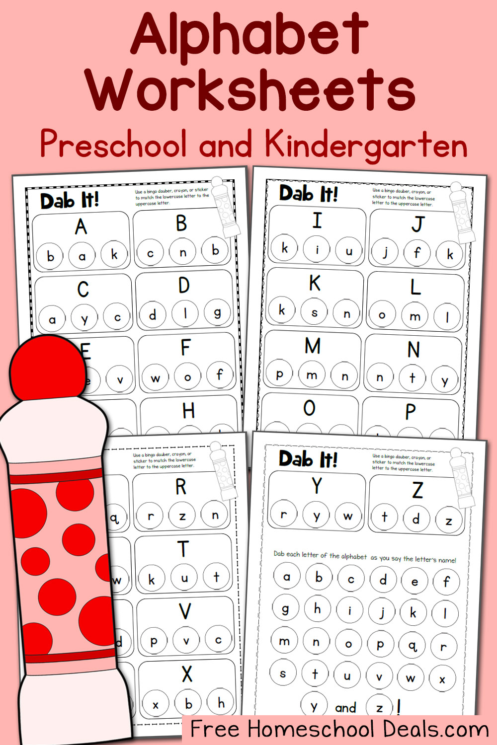 Free Alphabet Dot Pages Pack (Instant Download!) pertaining to Alphabet Dab Worksheets