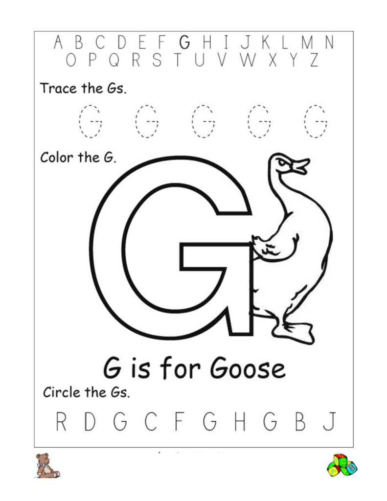 Free Alphabet Worksheets For The Beginners | Kiddo Shelter Intended For Letter G Worksheets Free Printables