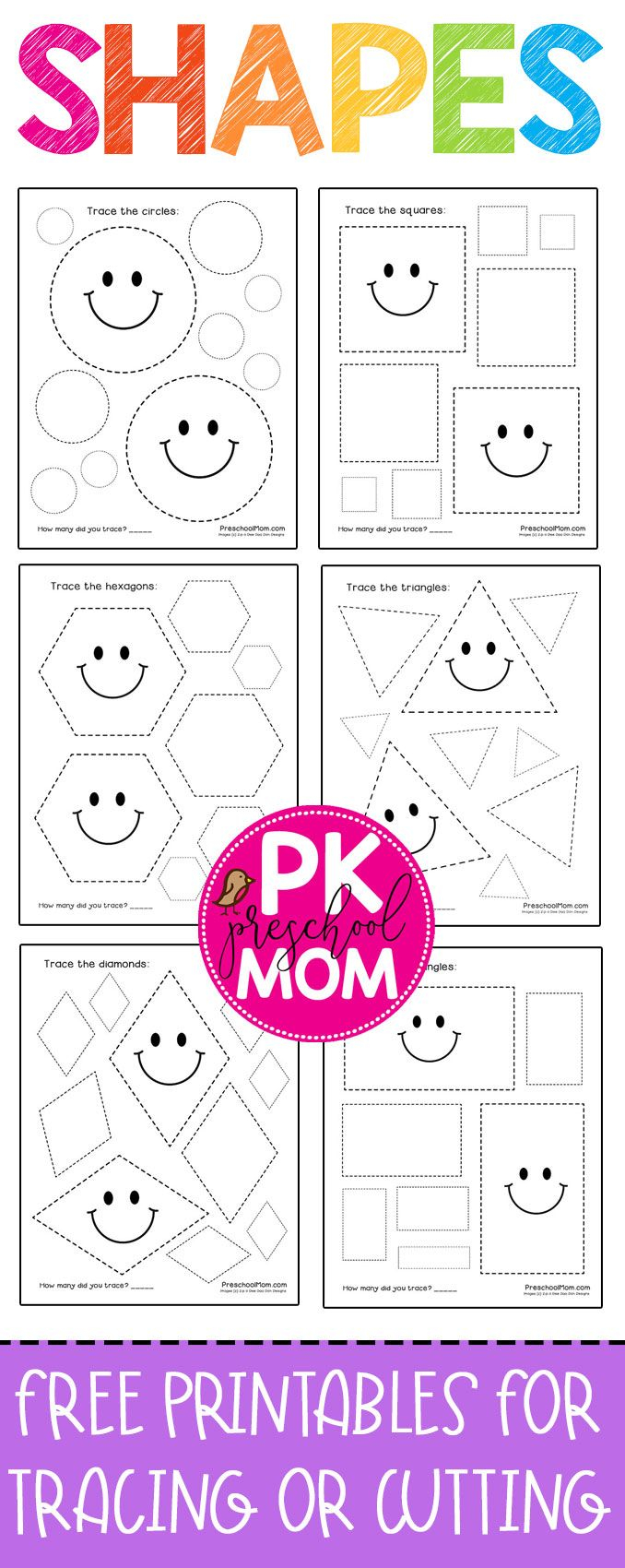 Free And Adorable Preschool Shape Tracing Worksheets in Tracing Name Madison