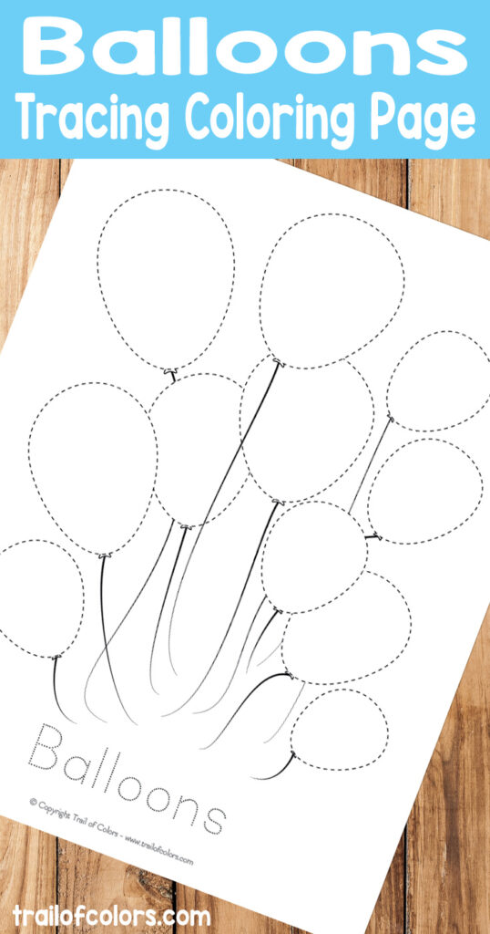 Free Balloons Tracing Coloring Page   Trail Of Colors