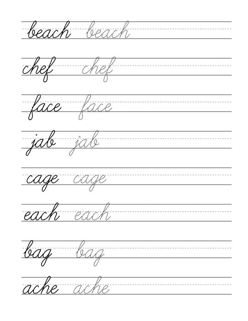 Free Beginning Cursive   Writing Template Part 3