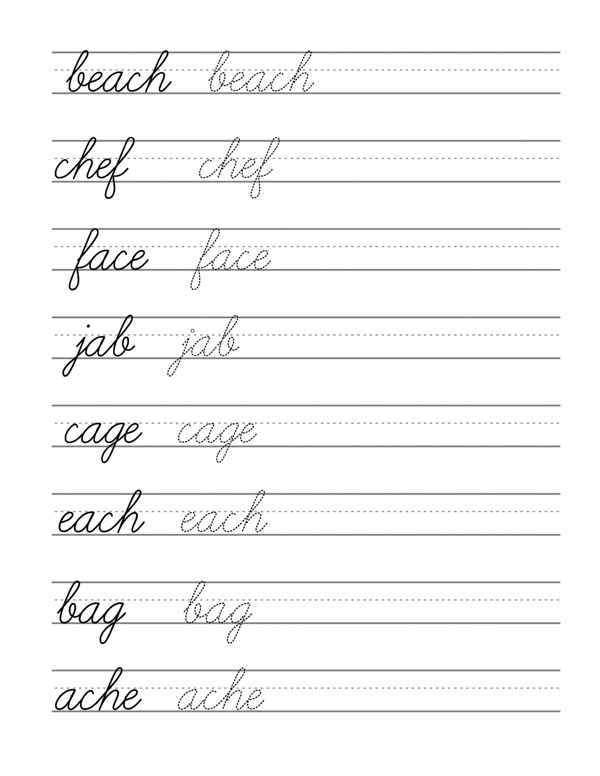Free Beginning Cursive - Writing Template Part 3