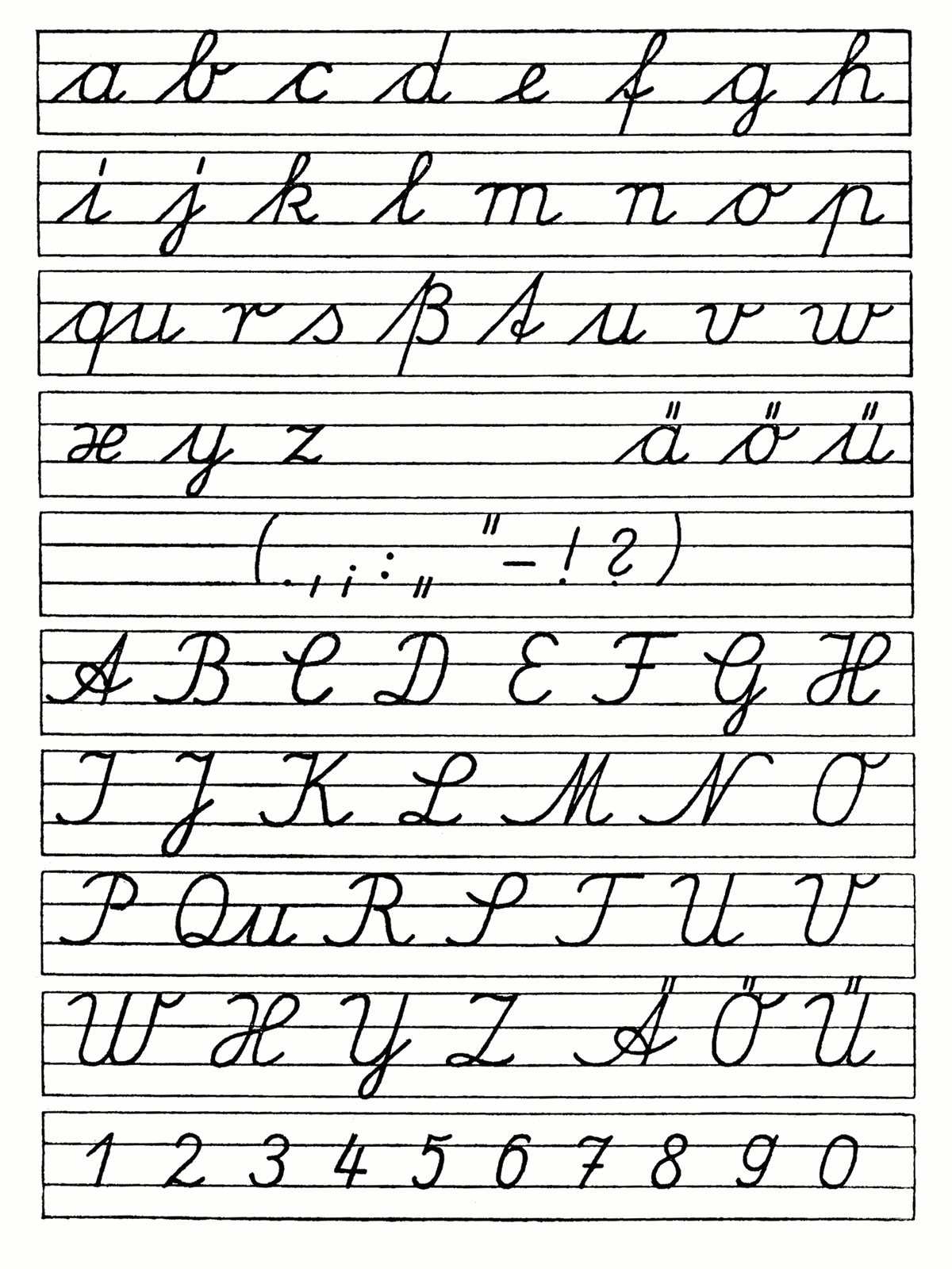 Free Cursiveiting Alphabet Worksheets Printable Chart