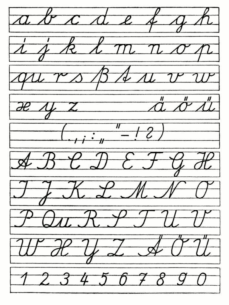 Free Cursiveiting Alphabet Worksheets Printable Chart