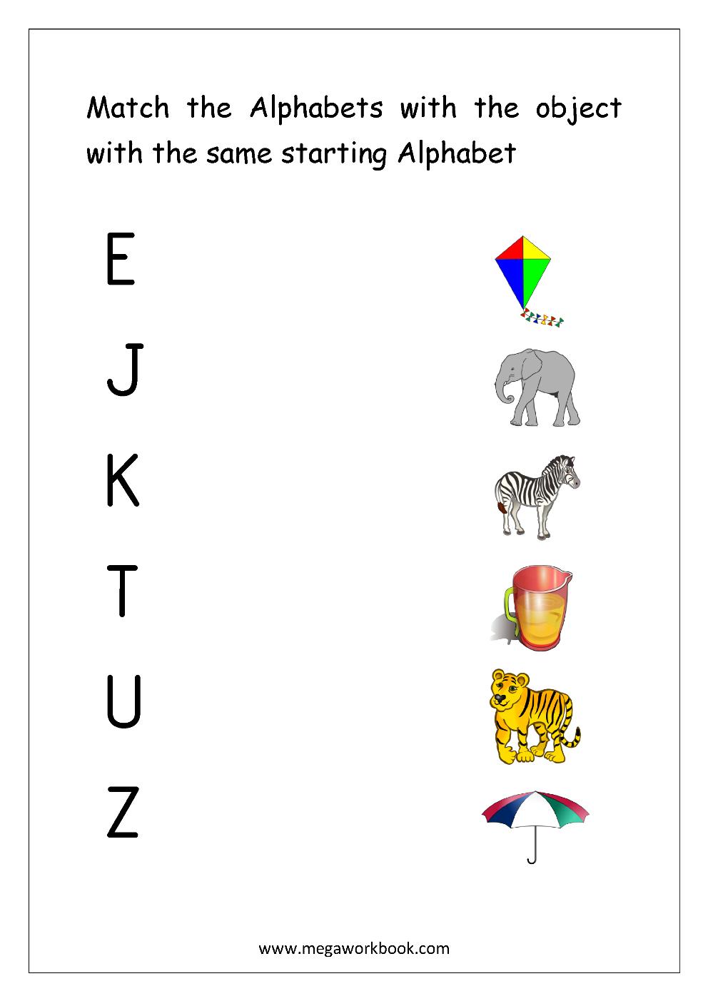 Free English Worksheets - Alphabet Matching - Megaworkbook inside Alphabet Worksheets Matching