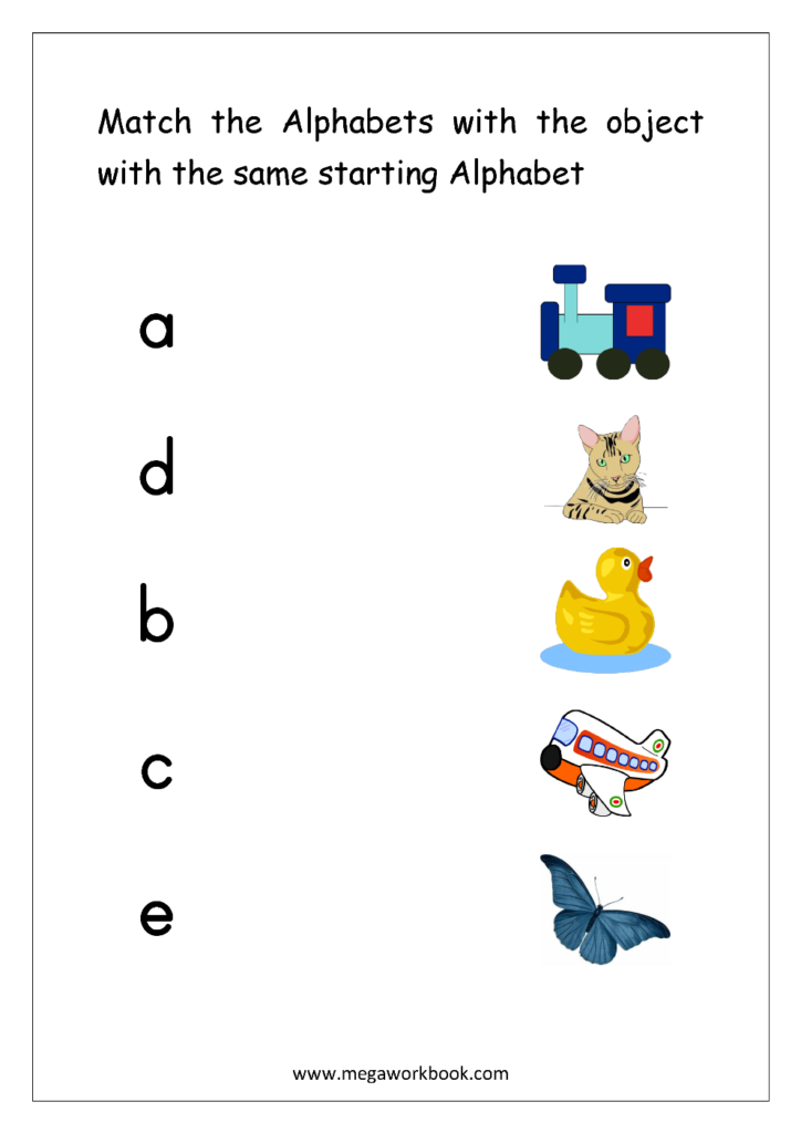 Free English Worksheets   Alphabet Matching   Megaworkbook Intended For Alphabet Matching Worksheets For Preschoolers