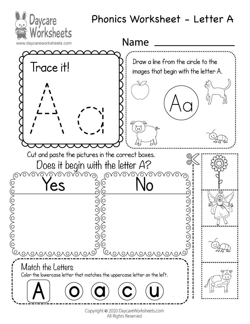 Free Letter A Phonics Worksheet For Preschool - Beginning Sounds for Letter L Worksheets Cut And Paste