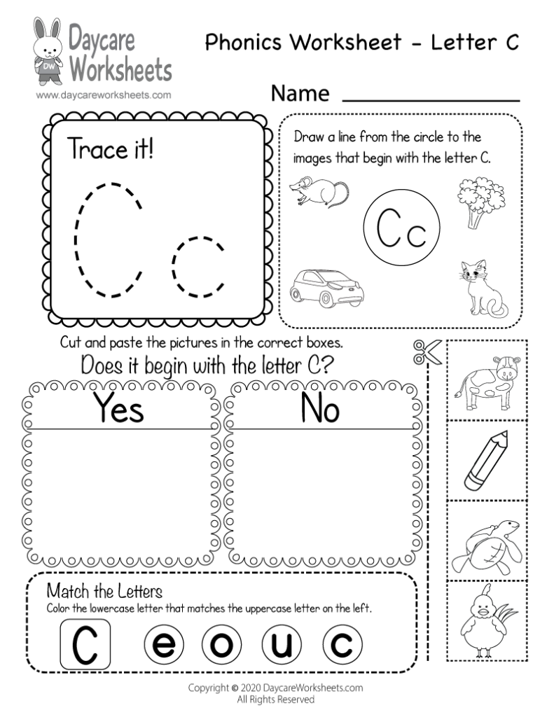 Free Letter C Phonics Worksheet For Preschool   Beginning Sounds Throughout Letter C Worksheets For Kindergarten